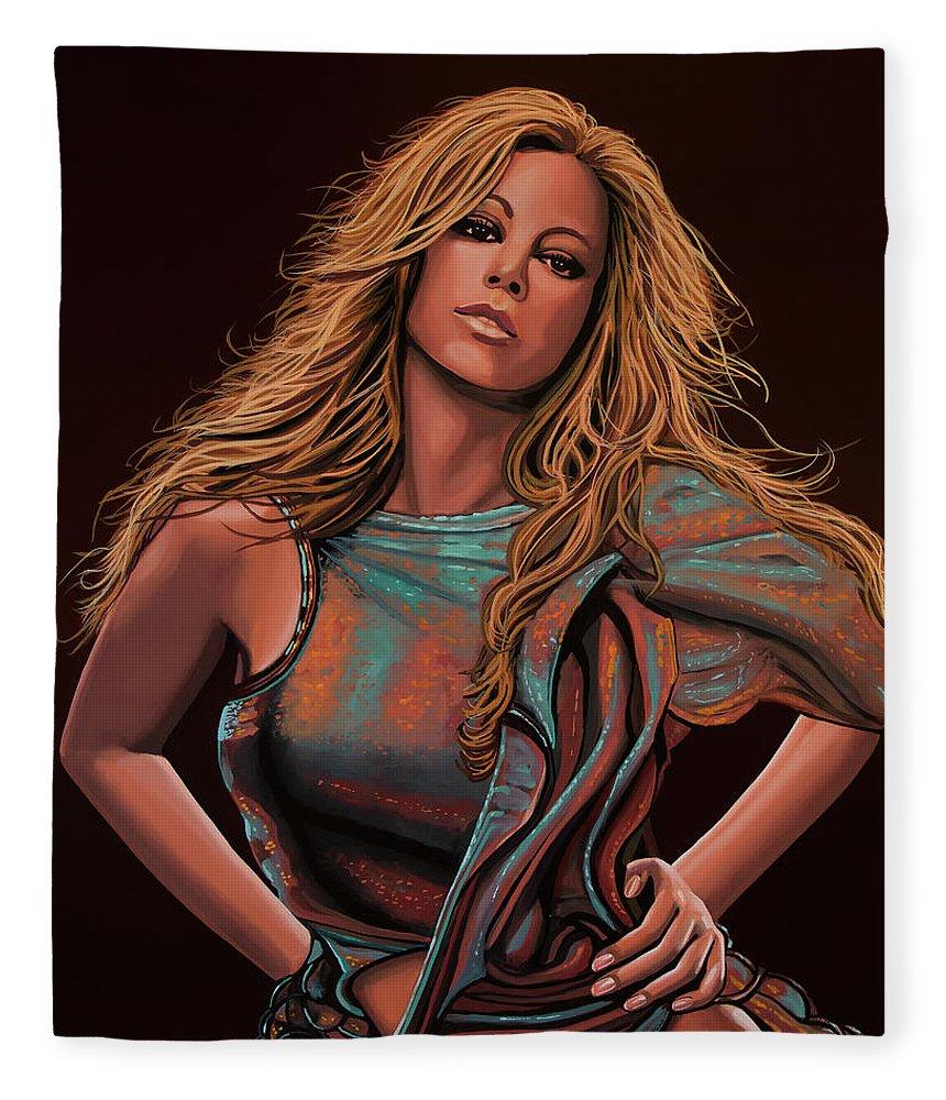 Mariah Carey Fleece Blanket featuring the painting Mariah Carey Painting by Paul Meijering