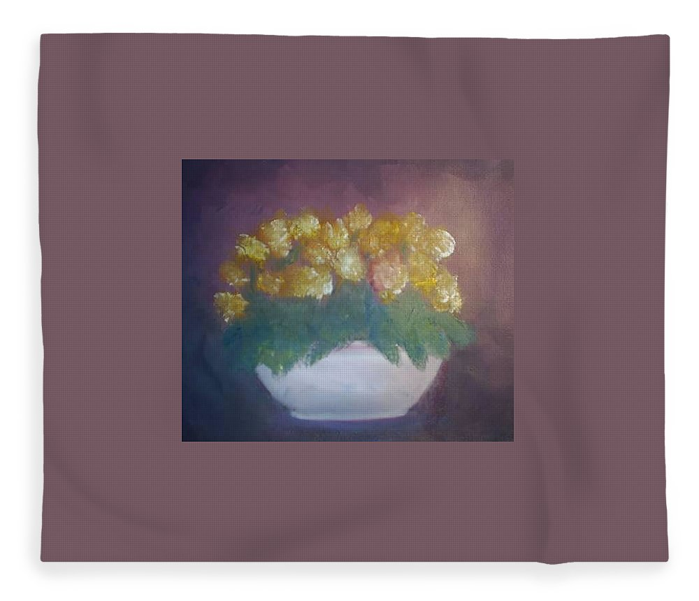 Marigolds Fleece Blanket featuring the painting Marigolds by Sheila Mashaw