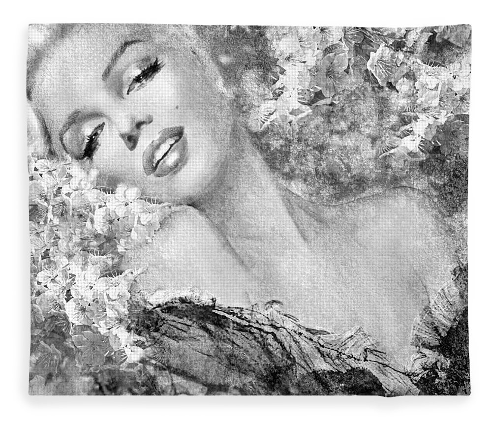 Theo Danella Fleece Blanket featuring the painting Marilyn Cherry Blossom Bw by Theo Danella