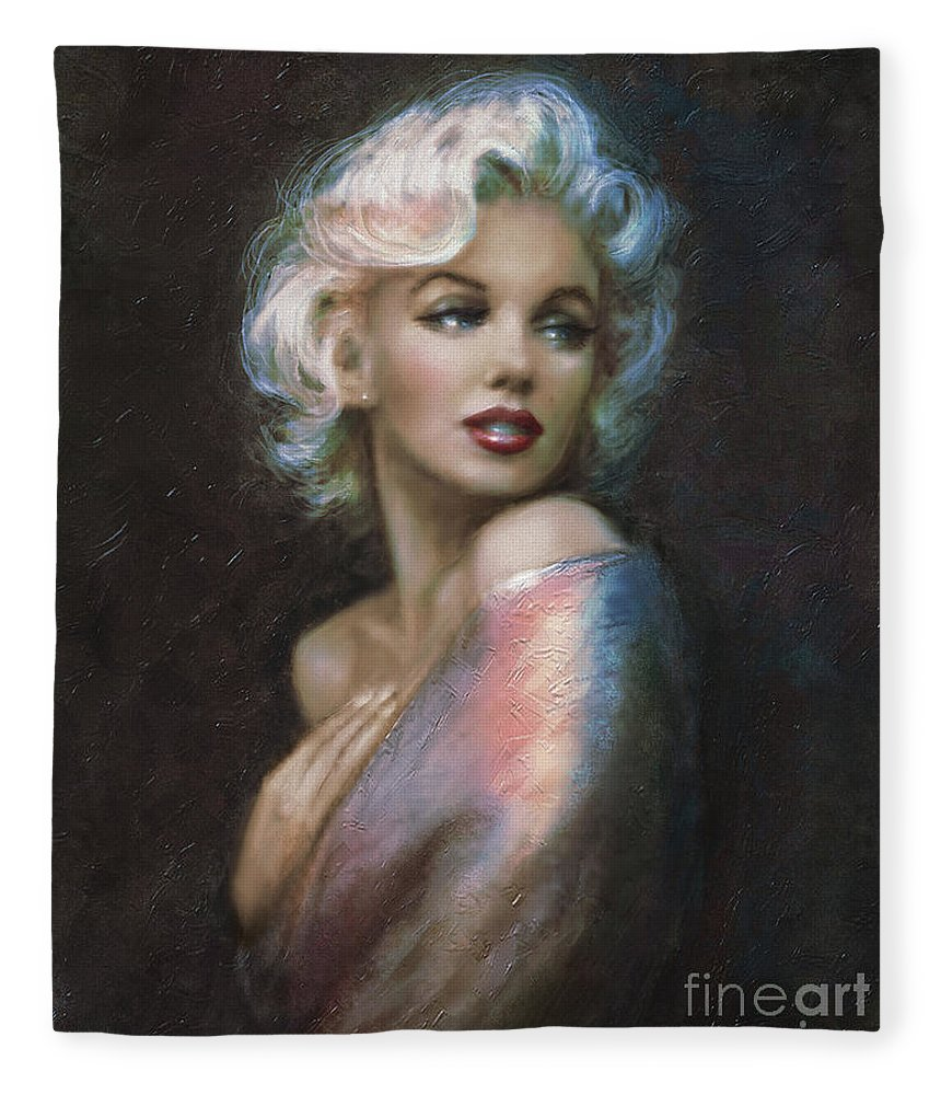 Marilyn Monroe Fleece Blanket featuring the painting Marilyn Romantic Ww 4 Blue by Theo Danella