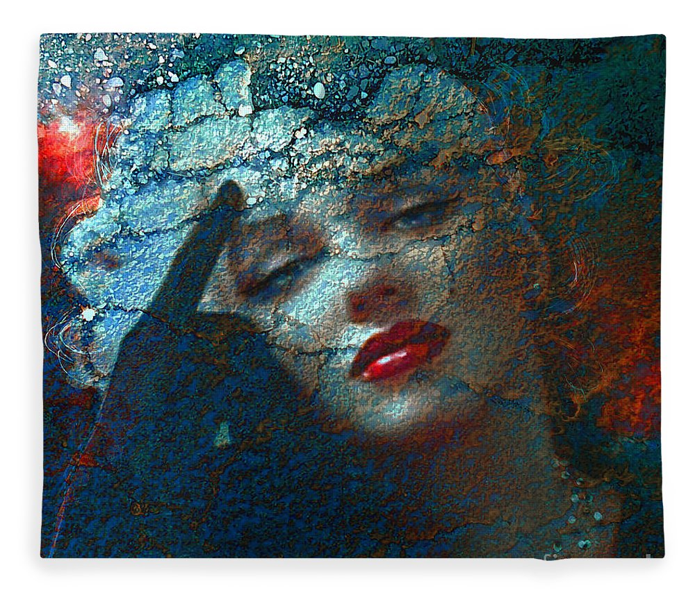 Marilyn Fleece Blanket featuring the digital art Marilyn Str. 1 by Theo Danella