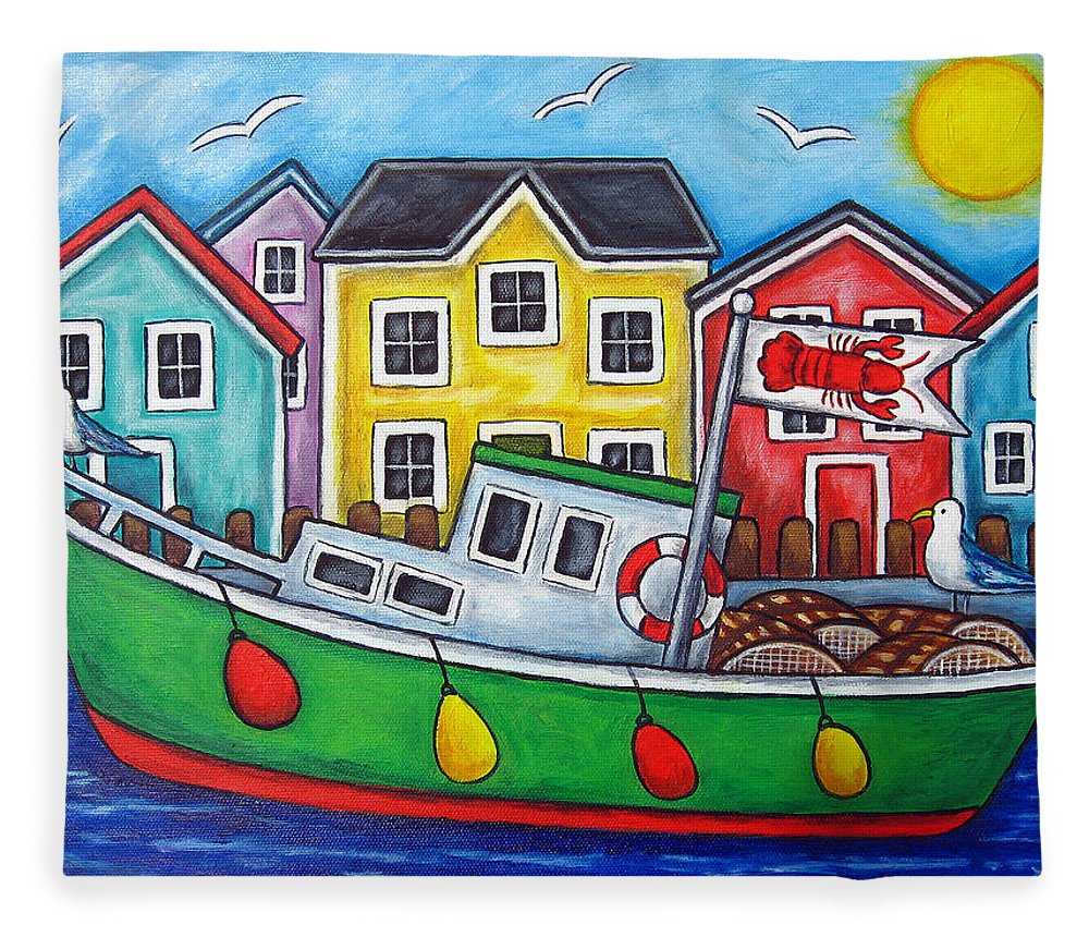 Lisa Lorenz Fleece Blanket featuring the painting Maritime Special by Lisa Lorenz