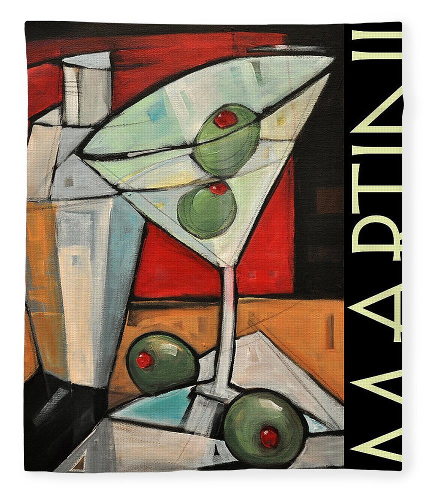 Beverage Fleece Blanket featuring the painting Martini Poster by Tim Nyberg