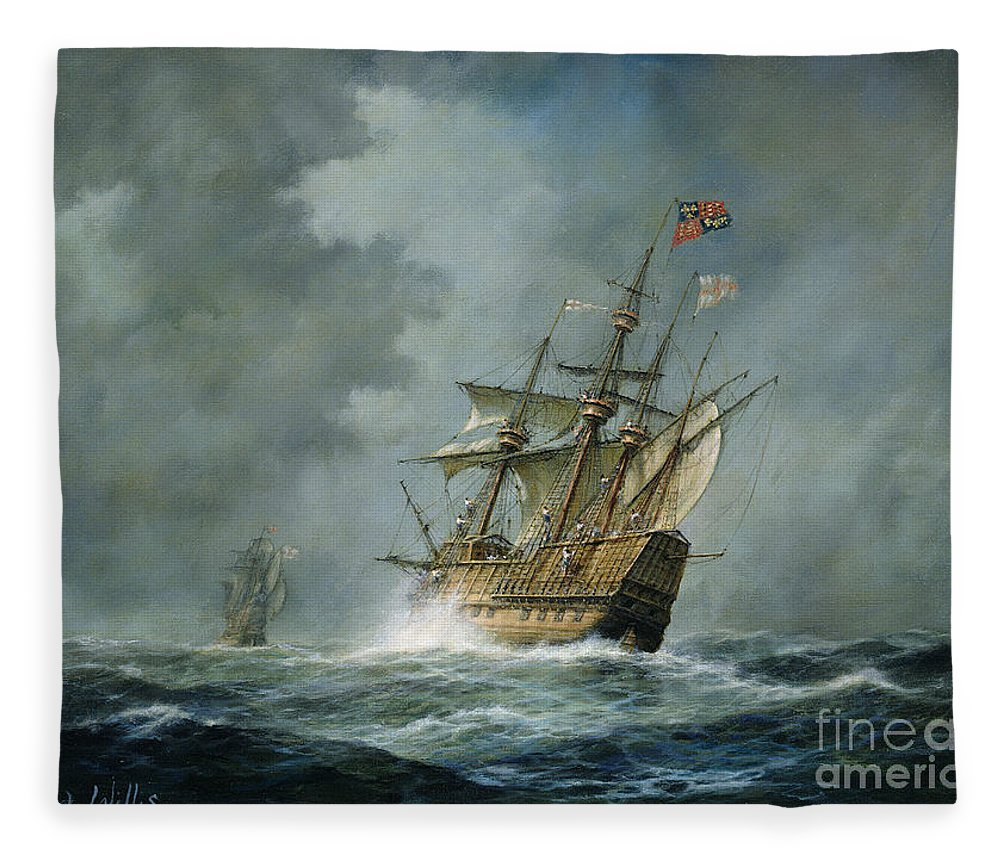 Mary Rose Fleece Blanket featuring the painting Mary Rose by Richard Willis