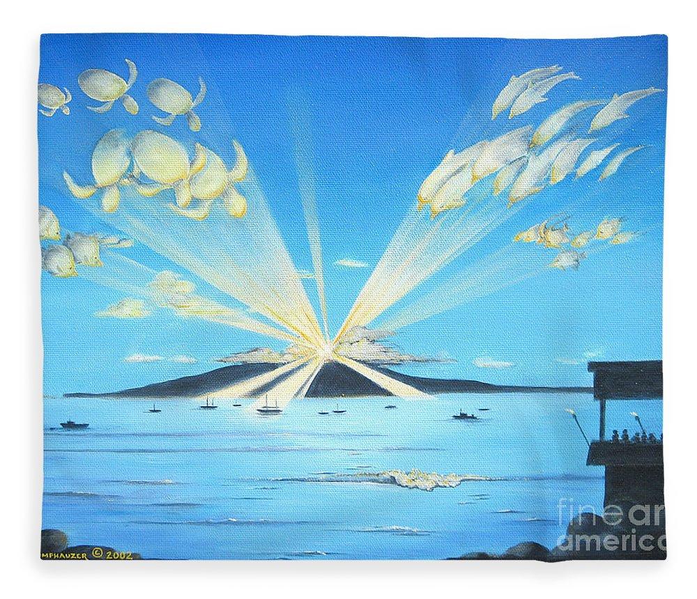 Maui Fleece Blanket featuring the painting Maui Magic by Jerome Stumphauzer
