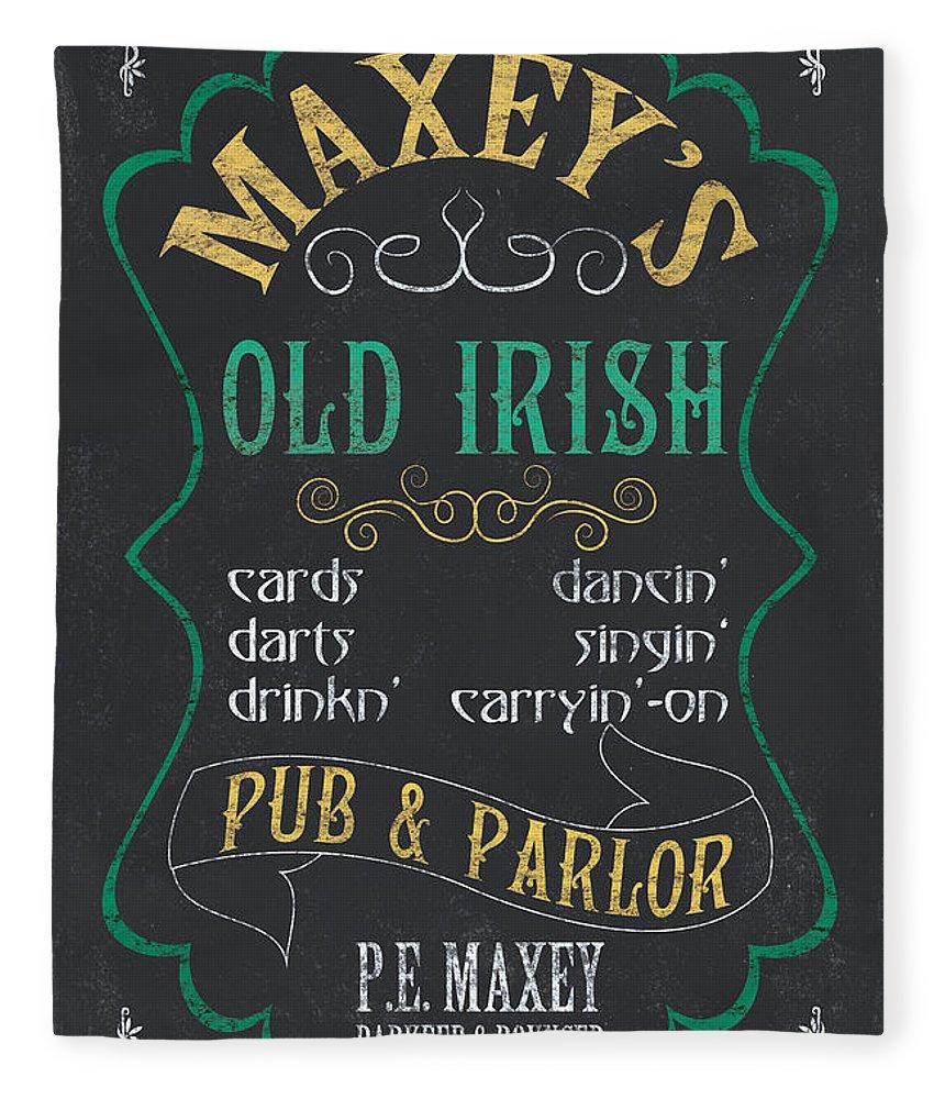 Beer Fleece Blanket featuring the mixed media Maxey's Old Irish Pub by Debbie DeWitt