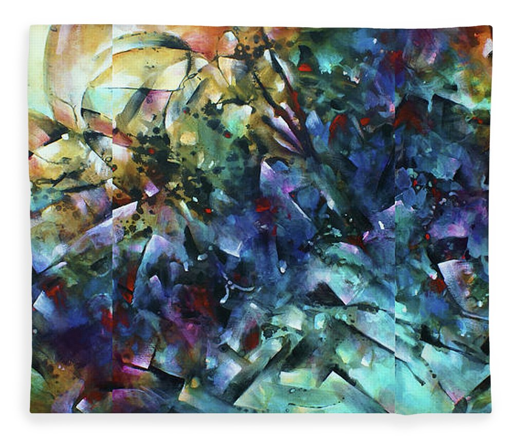 Abstract Fleece Blanket featuring the painting Measure Of Time by Michael Lang
