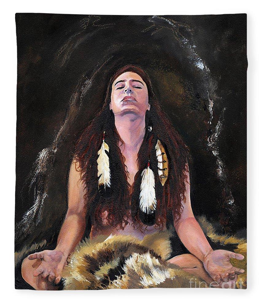 Southwest Art Fleece Blanket featuring the painting Medicine Woman by J W Baker