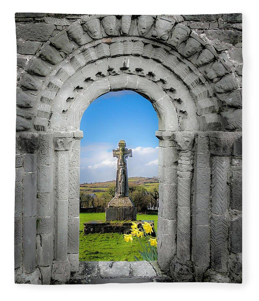 Dysert O'dea Fleece Blanket featuring the photograph Medieval Arch And High Cross, County Clare, Ireland by James Truett