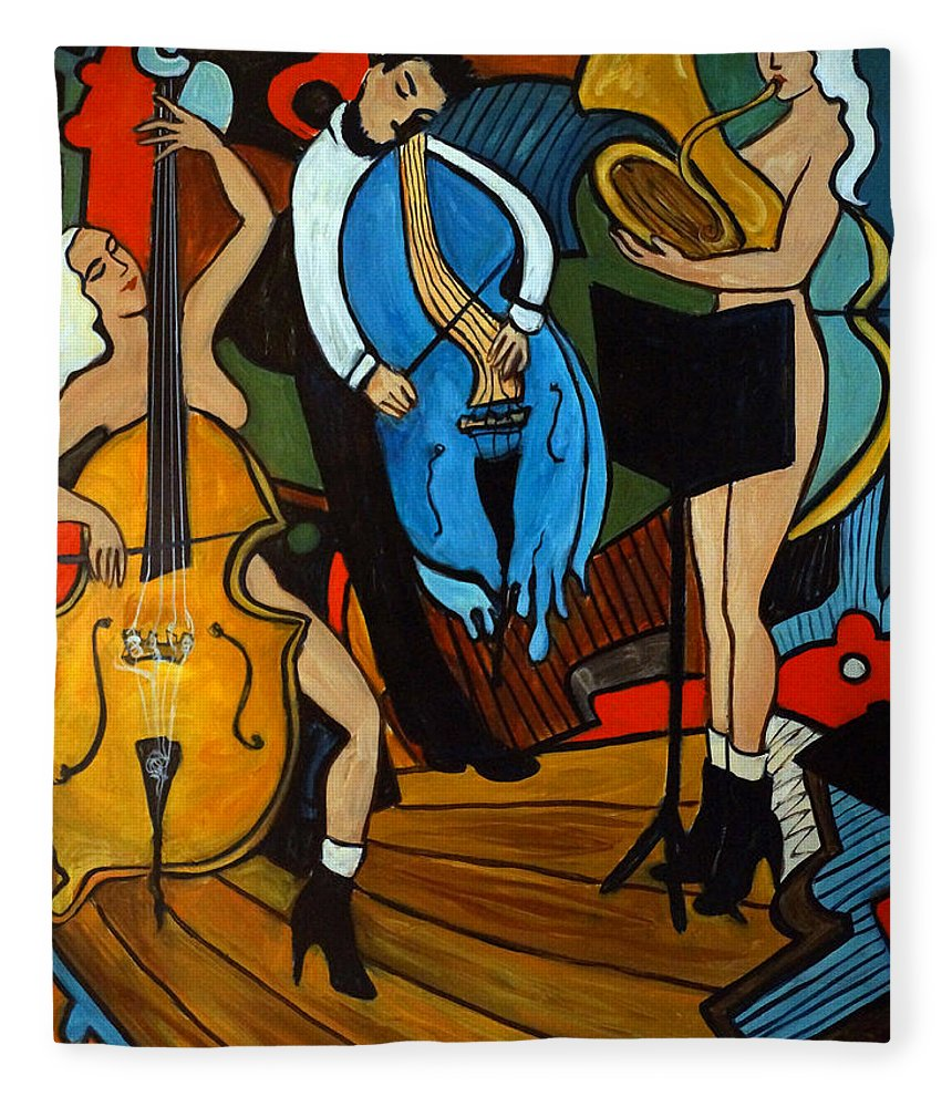 Musician Abstract Fleece Blanket featuring the painting Melting Jazz by Valerie Vescovi