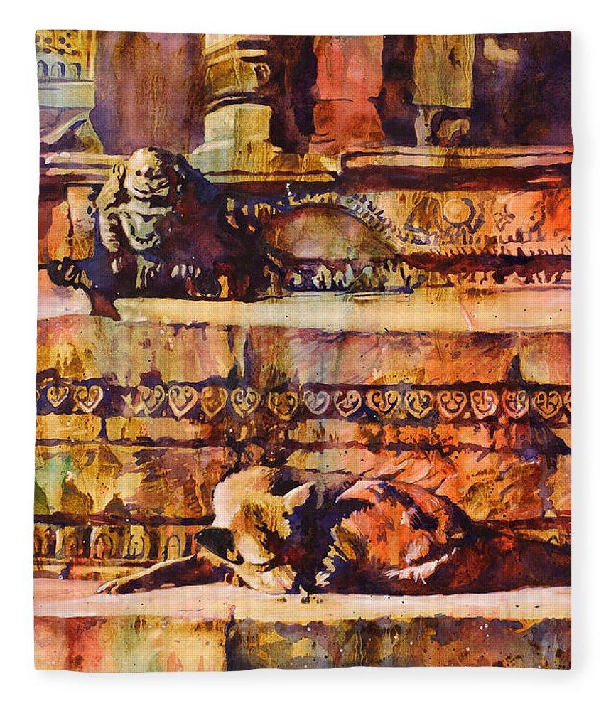 Art Prints Fleece Blanket featuring the painting Memories Of Happier Times- Nepal by Ryan Fox