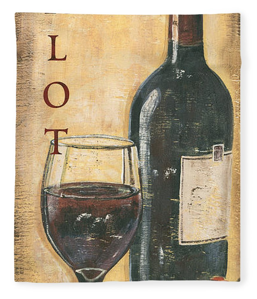Wine Fleece Blanket featuring the painting Merlot Wine and Grapes by Debbie DeWitt