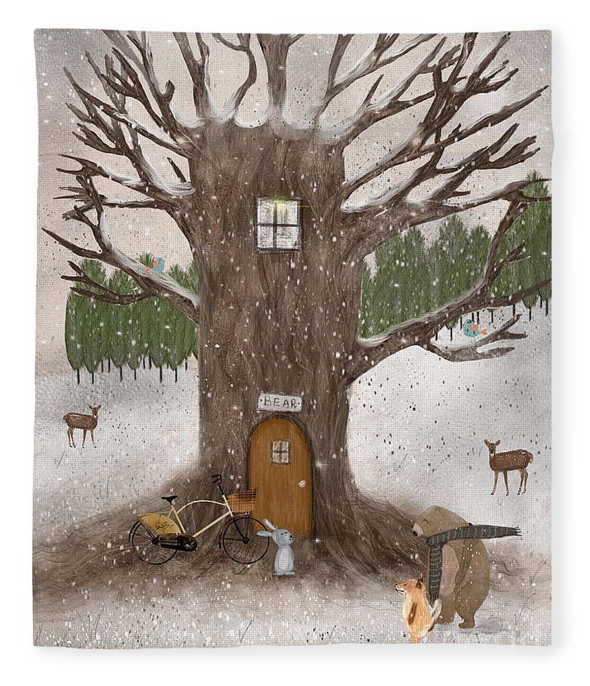 Woodland Fleece Blanket featuring the painting Merry Berry Wood by Bri Buckley