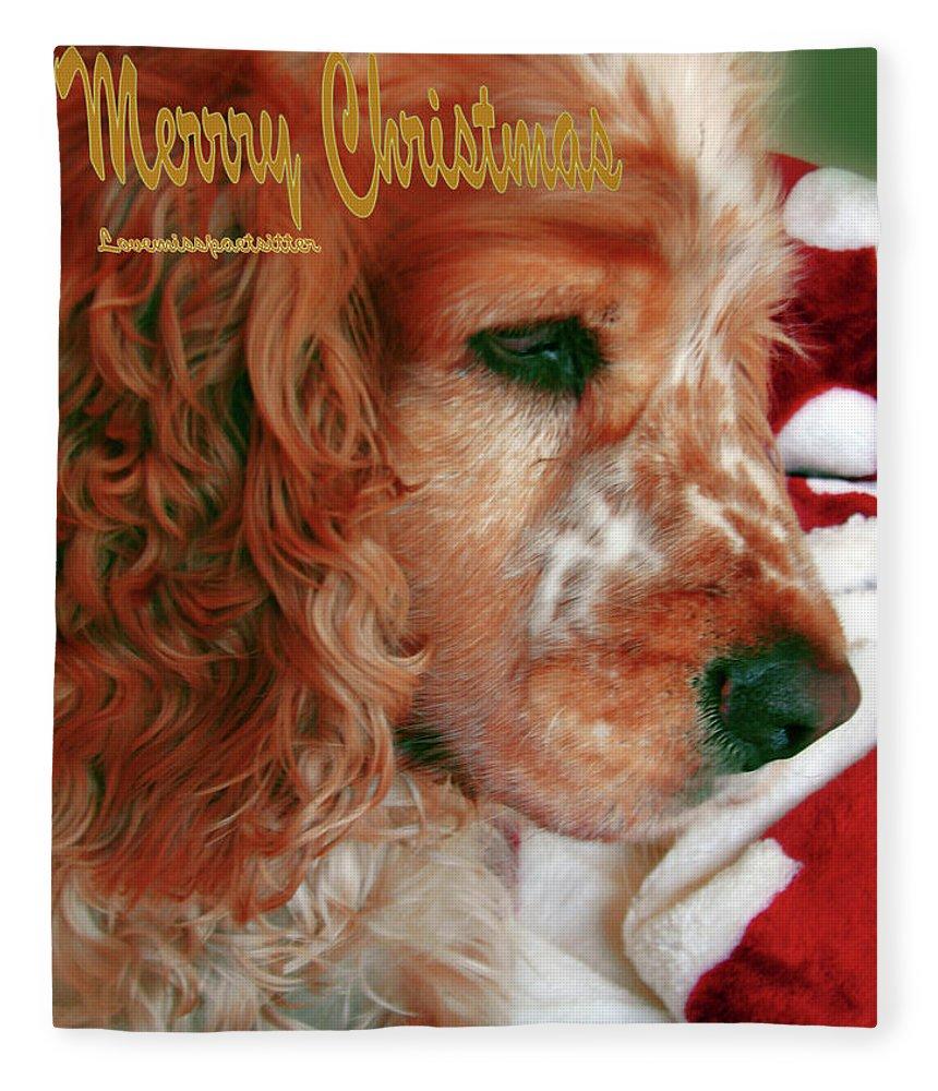 Doggie Art Fleece Blanket featuring the digital art Merry Christmas Art 29 by Miss Pet Sitter