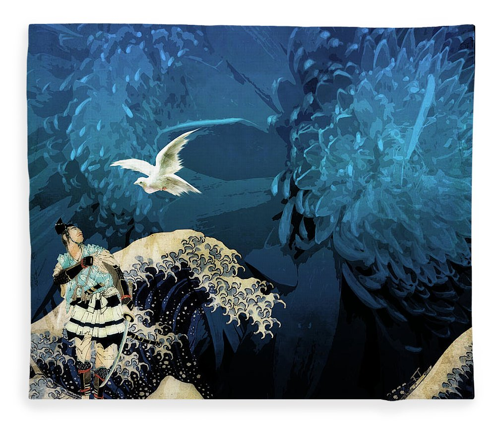 Japanese Prints Fleece Blanket featuring the digital art Messenger by Laura Botsford