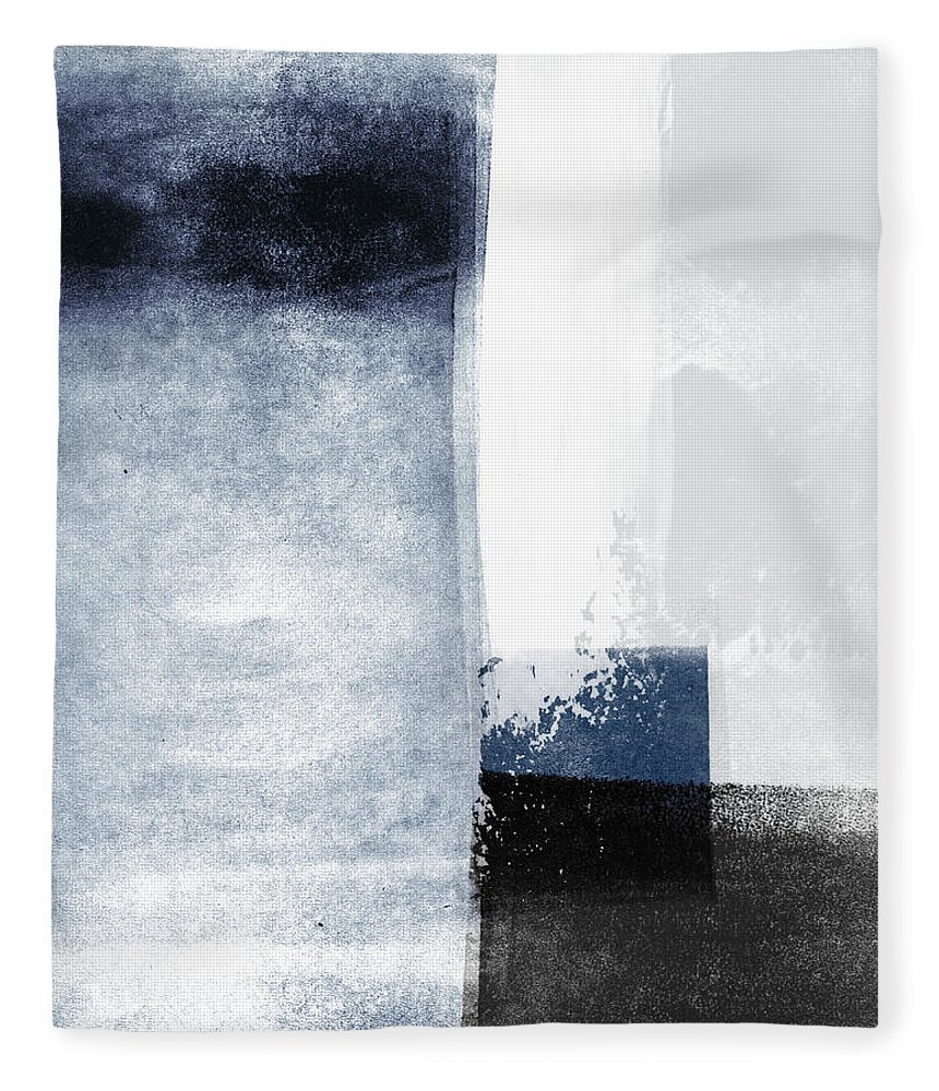 Blue Fleece Blanket featuring the mixed media Mestro 3- Abstract Art By Linda Woods by Linda Woods