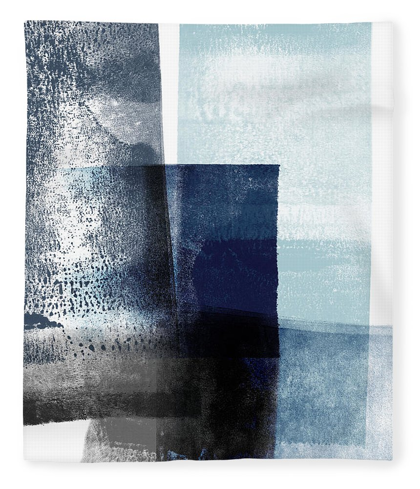 Blue Fleece Blanket featuring the mixed media Mestro 4- Abstract Art By Linda Woods by Linda Woods
