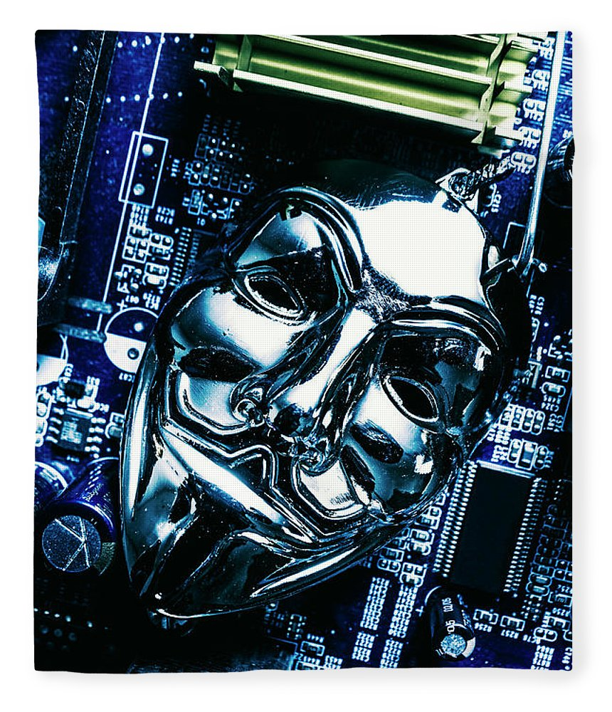 Cyber Fleece Blanket featuring the photograph Metal Anonymous Mask On Motherboard by Jorgo Photography - Wall Art Gallery