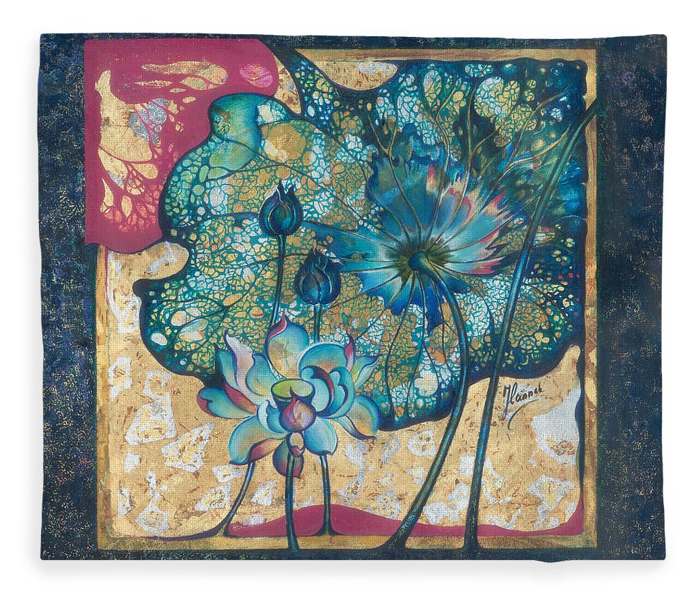 Rebirth Fleece Blanket featuring the painting Metamorphosis by Anna Ewa Miarczynska