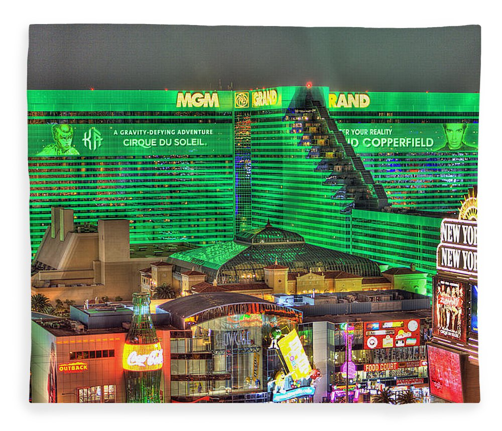 Mgm Grand Fleece Blanket featuring the photograph MGM Grand Las Vegas by Nicholas Grunas