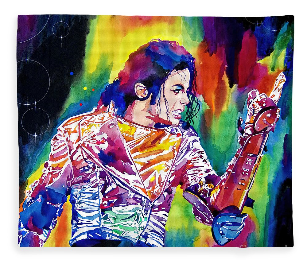 Michael Jackson Fleece Blanket featuring the painting Michael Jackson Showstopper by David Lloyd Glover