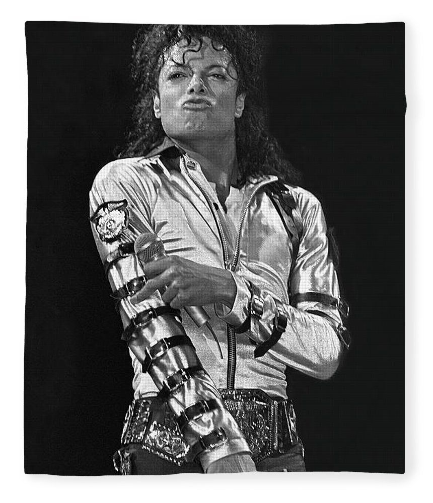 Music Legend Michael Jackson Is Shown Performing On Stage During A Live Concert Appearance Fleece Blanket featuring the photograph Michael Jackson - The King of Pop by Concert Photos