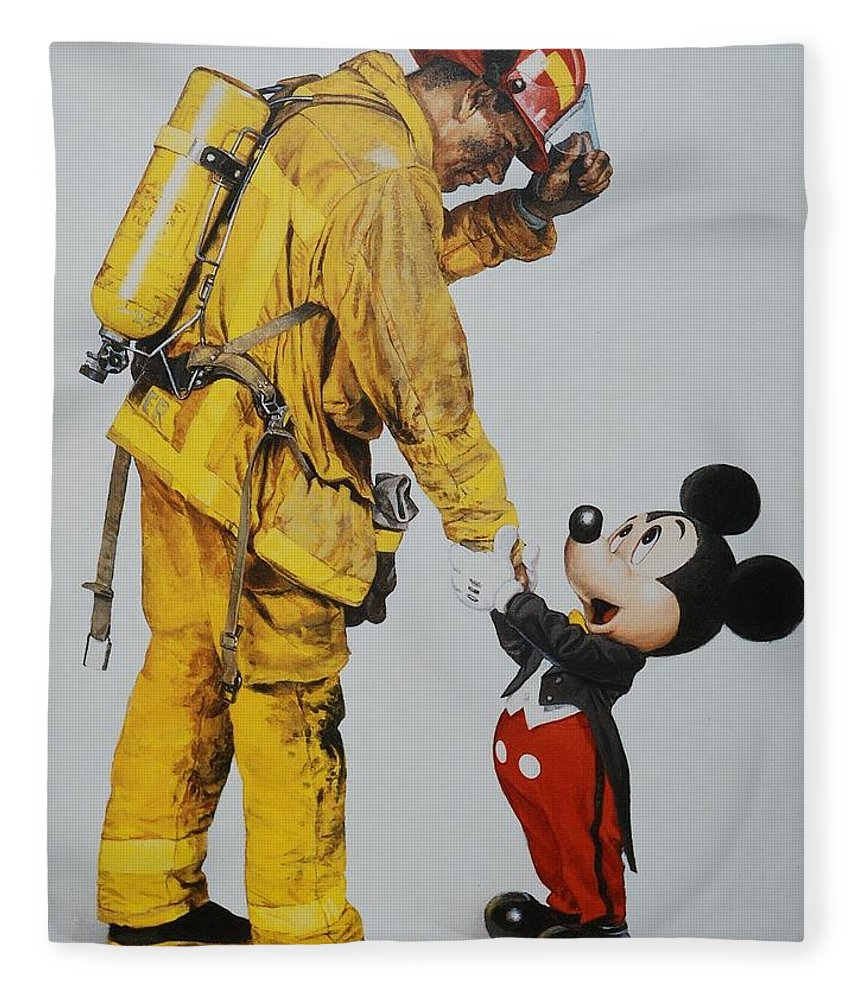 Walt Disney World Fleece Blanket featuring the photograph Mickey And The Bravest by Rob Hans