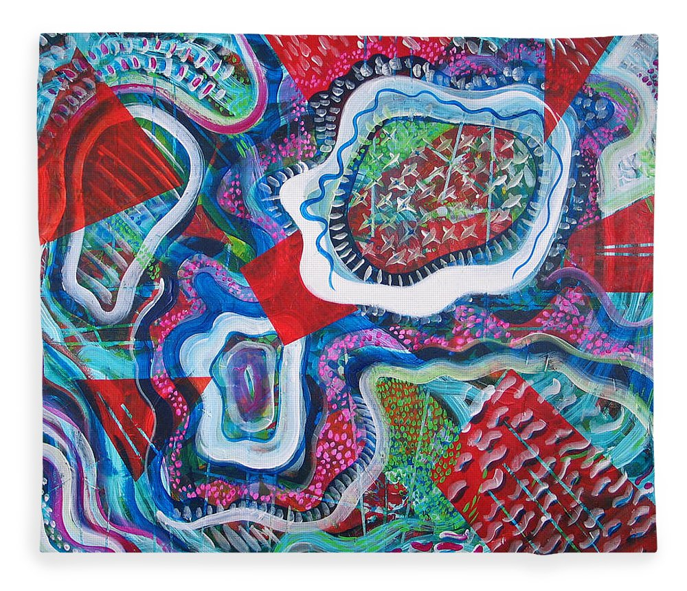 Abstract Fleece Blanket featuring the painting Microcosm IX by Rollin Kocsis