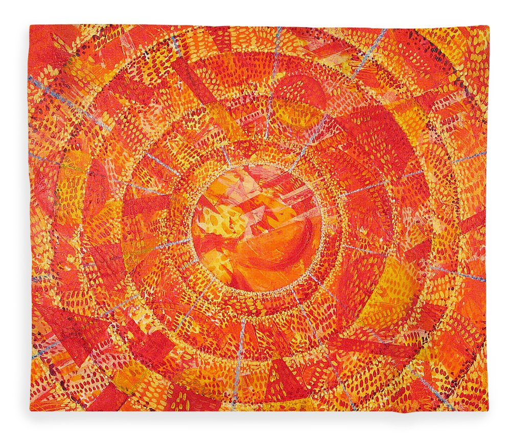 Abstract Fleece Blanket featuring the painting Microcosm XIX by Rollin Kocsis