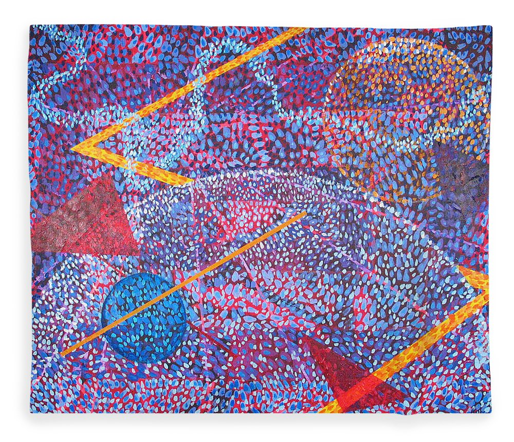 Abstract Fleece Blanket featuring the painting Microcosm XV by Rollin Kocsis