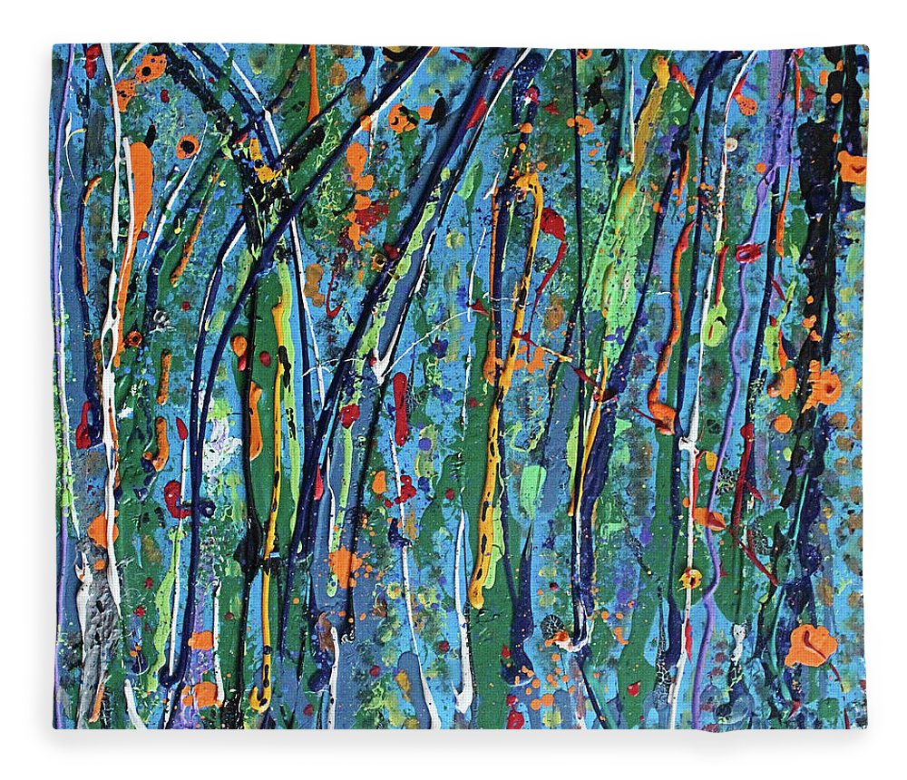 Bright Fleece Blanket featuring the painting Mid-Summer Night's Dream by Pam Roth O'Mara