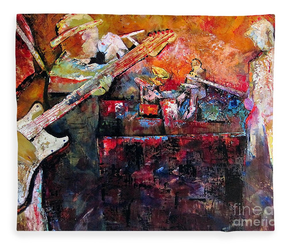 Guitar Fleece Blanket featuring the painting Midnight Ensemble by Shadia Derbyshire