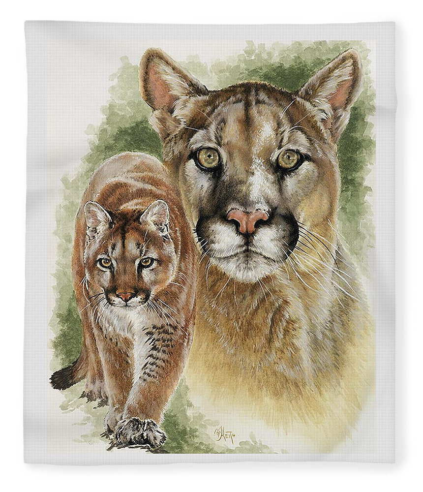 Cougar Fleece Blanket featuring the mixed media Mighty by Barbara Keith