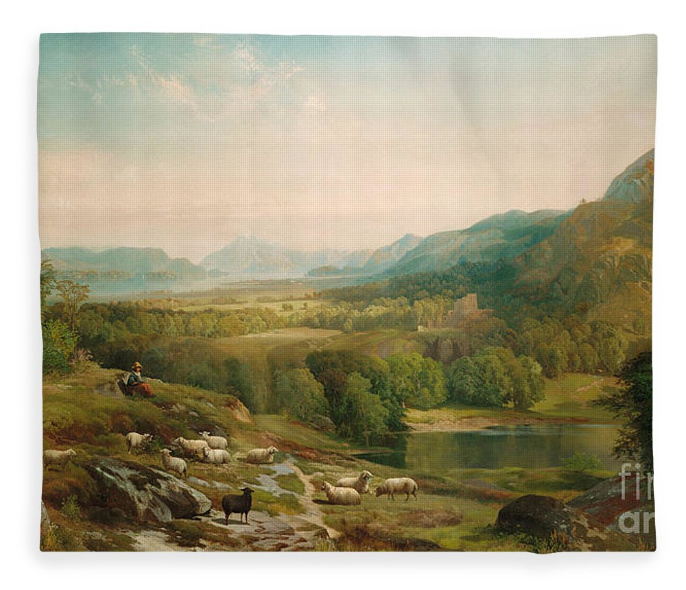 Thomas Moran Fleece Blanket featuring the painting Minding The Flock by Thomas Moran