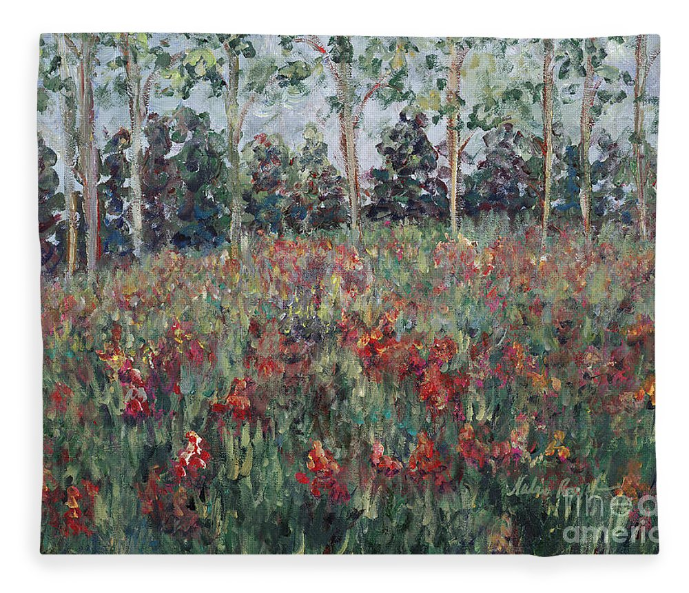 Landscape Fleece Blanket featuring the painting Minnesota Wildflowers by Nadine Rippelmeyer