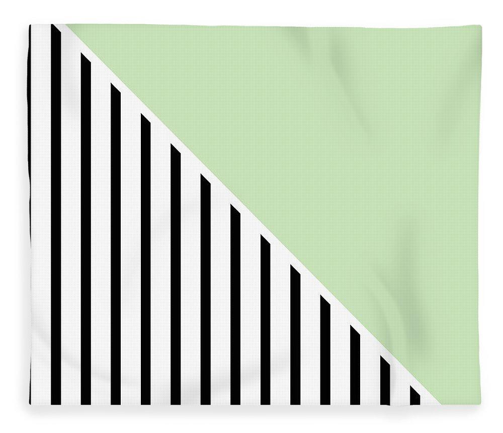 Mint Fleece Blanket featuring the digital art Mint And Black Geometric by Linda Woods