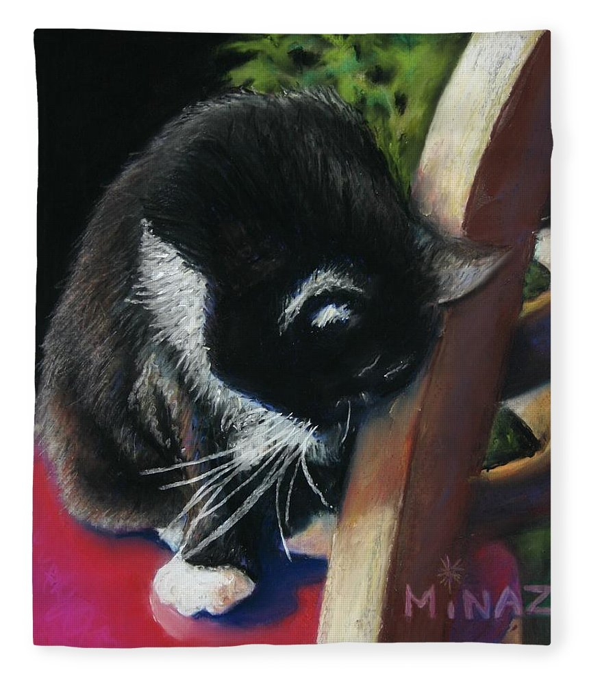 Cat Fleece Blanket featuring the painting Kitty Chair by Minaz Jantz