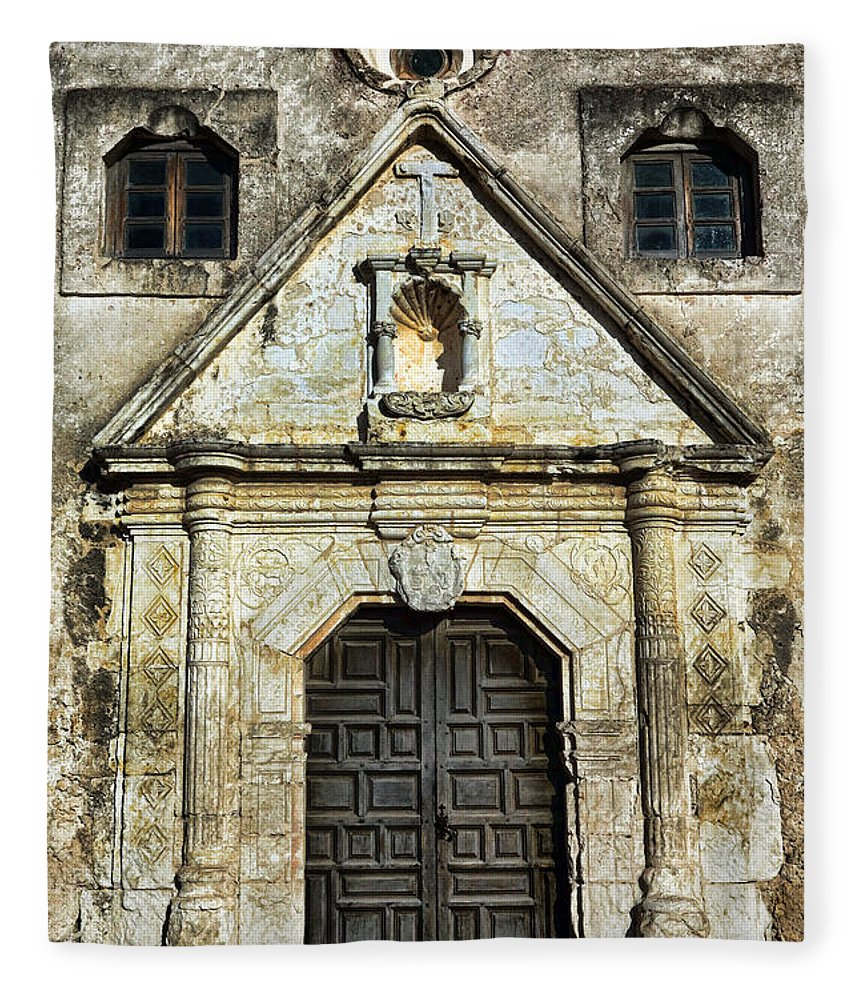 Texas Fleece Blanket featuring the photograph Mission Concepcion Entrance by Stephen Stookey