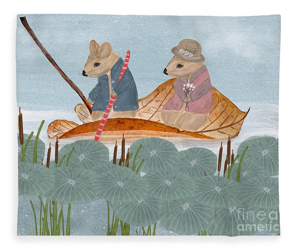 Mississippi Fleece Blanket featuring the painting Mississippi Mice by Bri Buckley