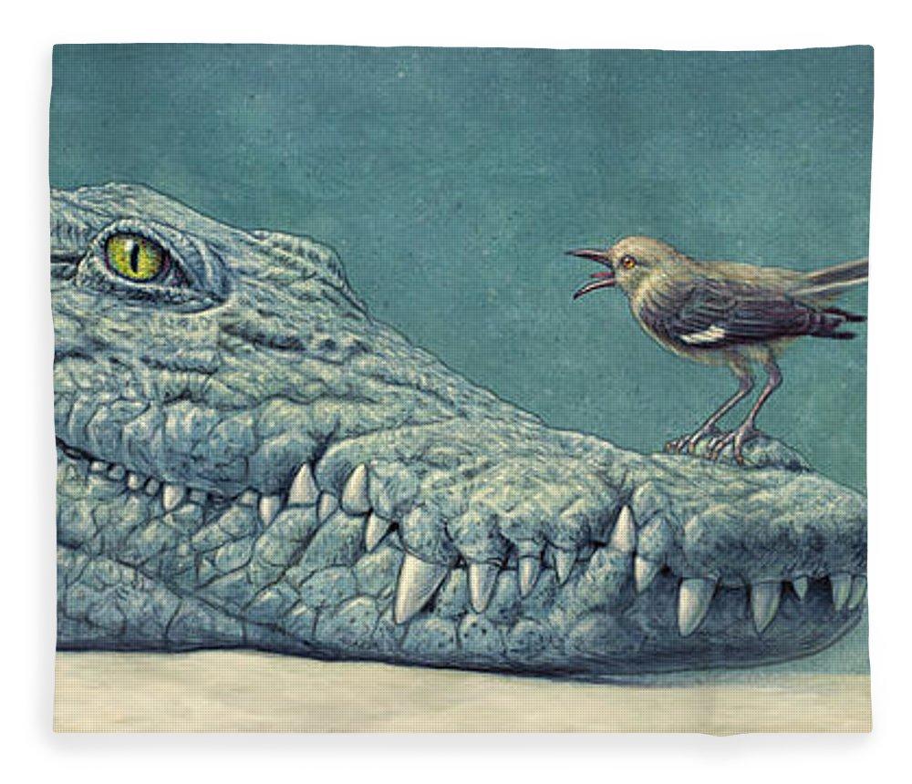 Crocodile Fleece Blanket featuring the painting Mockin' A Croc by James W Johnson