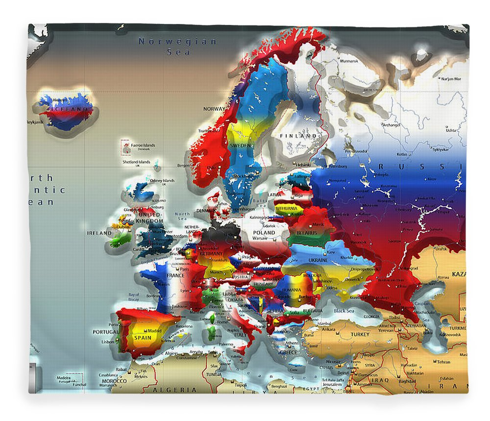 Maps - Cartography Of Past And Present Collection By Serge Averbukh Fleece Blanket featuring the photograph Modern Portrait Of Modern Europe - 3d by Serge Averbukh