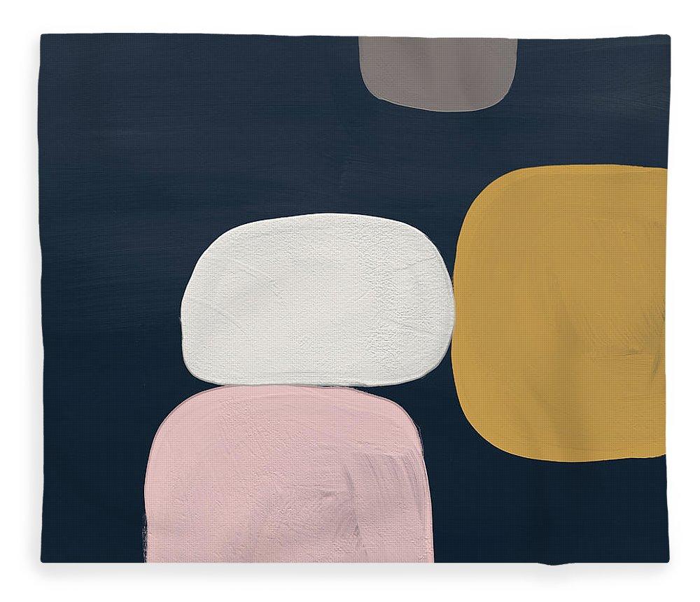 Modern Fleece Blanket featuring the painting Modern Stones Navy 2- Art by Linda Woods by Linda Woods
