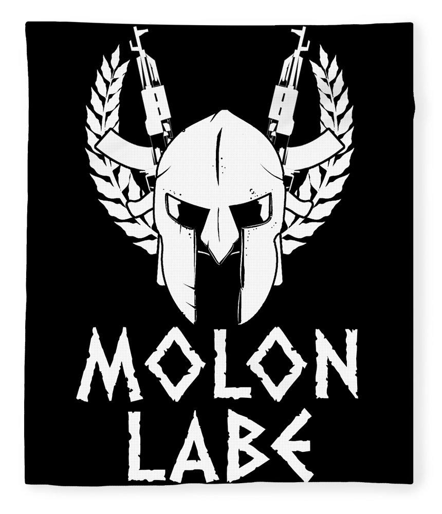 American-flag Fleece Blanket featuring the digital art Molon Labe Spartan Warrior Helmet Rifles by Passion Loft