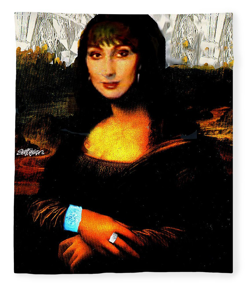 Mona Cher Fleece Blanket featuring the digital art Mona Cher by Seth Weaver