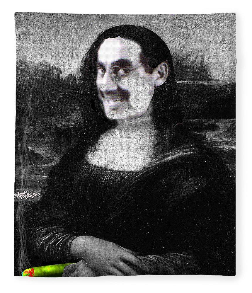 Mona Lisa Fleece Blanket featuring the digital art Mona Grouchironi by Seth Weaver