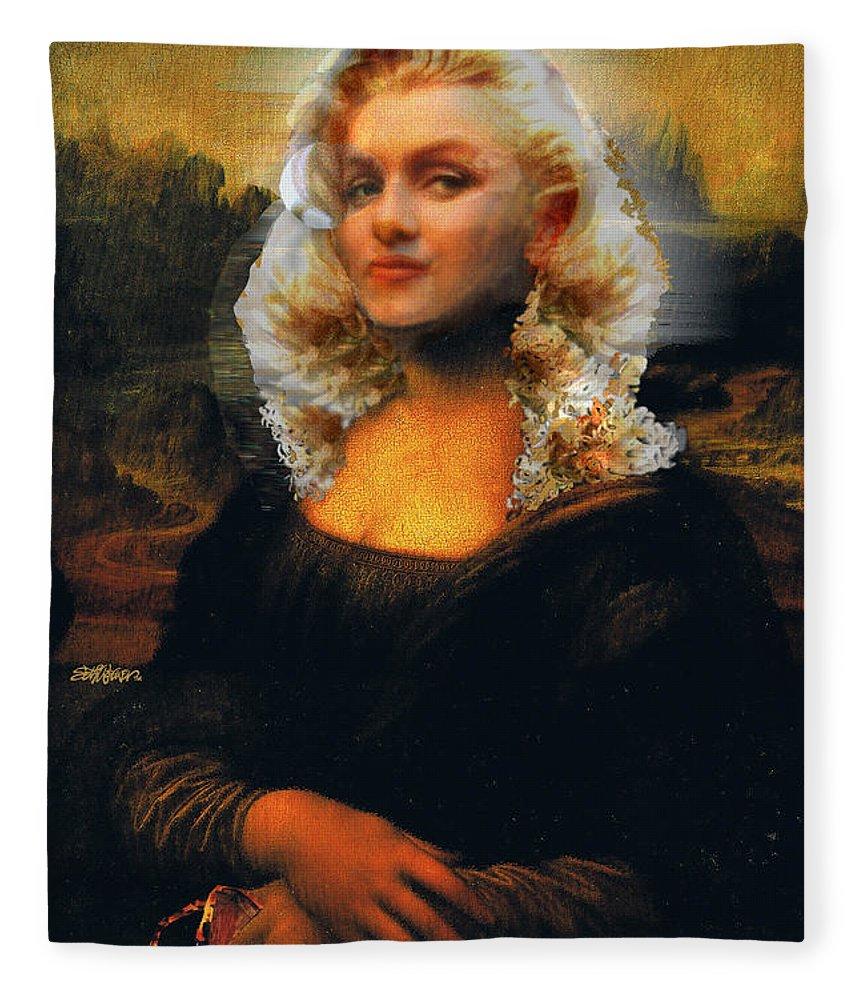 Mona Lisa Fleece Blanket featuring the digital art Mona Marilyn by Seth Weaver