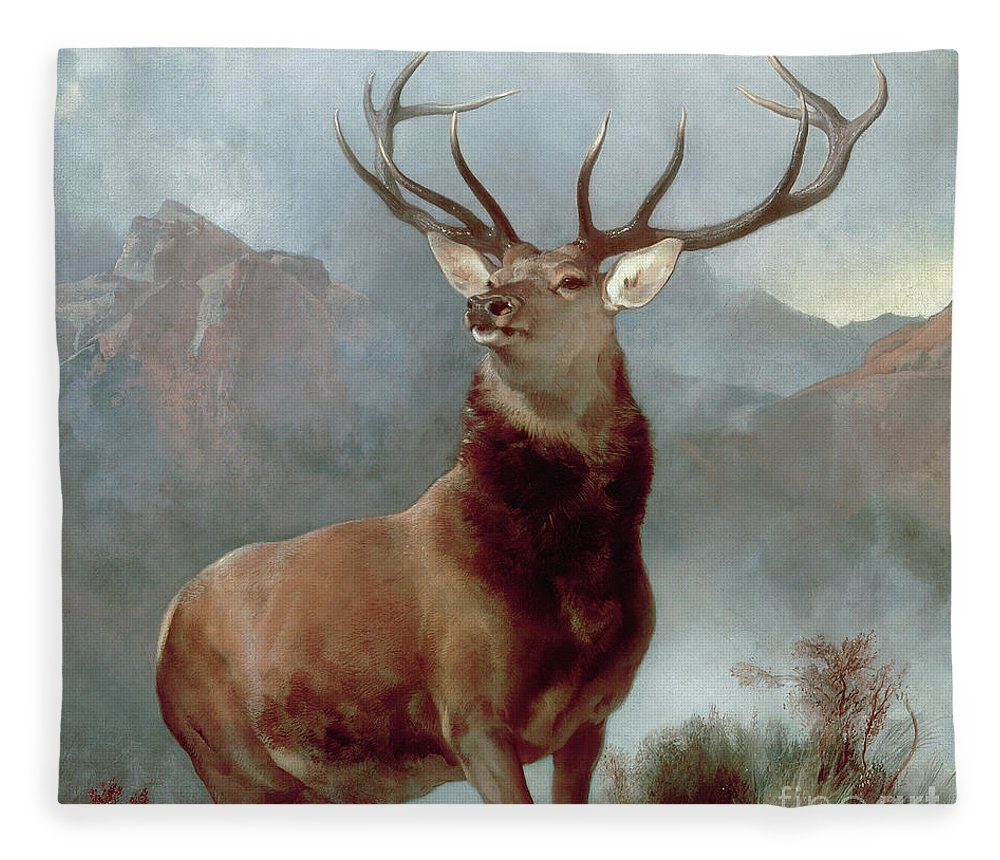Monarch Fleece Blanket featuring the painting Monarch of the Glen by Sir Edwin Landseer