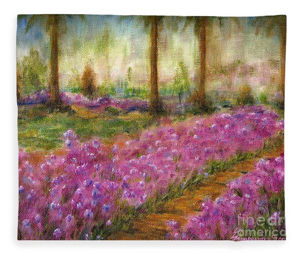 Monet Fleece Blanket featuring the painting Monet's Garden in Cannes by Jerome Stumphauzer