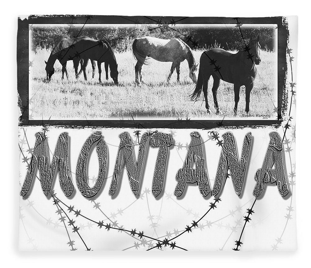Digital Art Fleece Blanket featuring the digital art Montana Horses by Susan Kinney