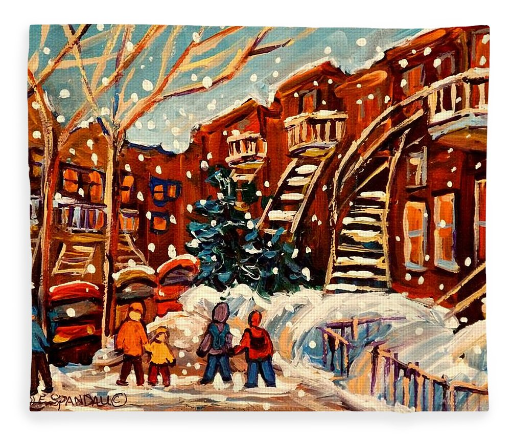 Montreal Fleece Blanket featuring the painting Montreal Street In Winter by Carole Spandau